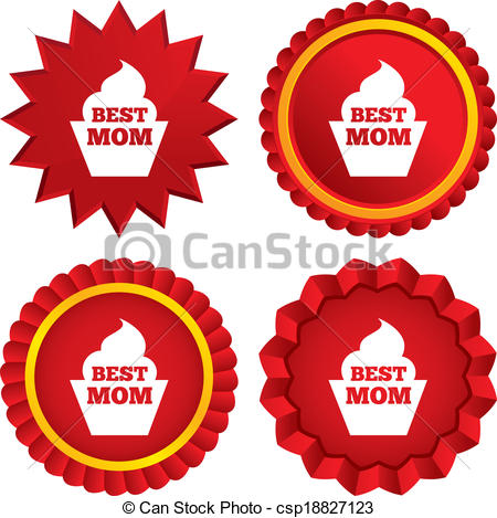 Best Mom Sign Icon  Muffin Food Symbol  Red Stars Stickers