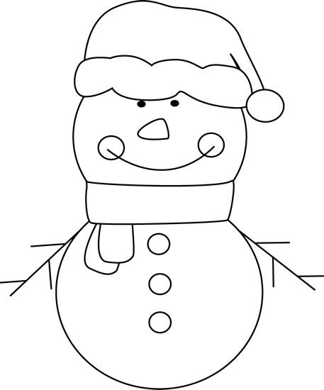 Black And White Christmas Snowman Clip Art   Black And White Christmas