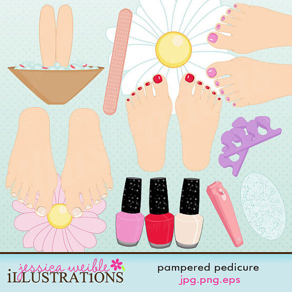 Pedicure Clipart: Painted Toes Clipart