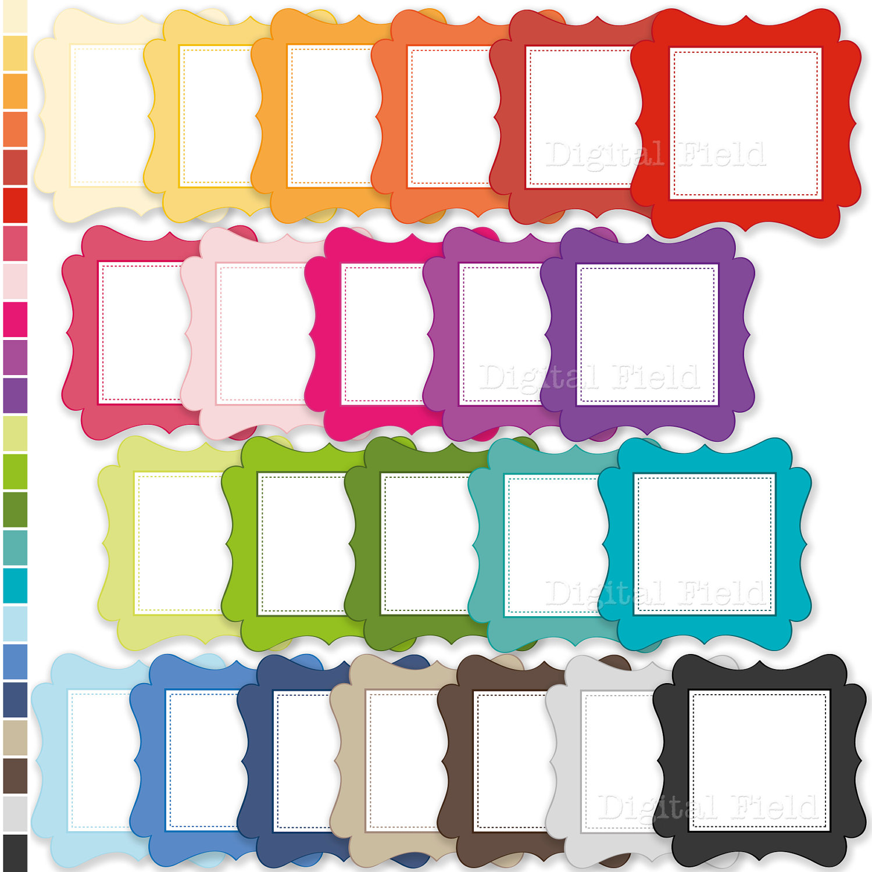 colorful labels frames clip art set printable by digitalfield
