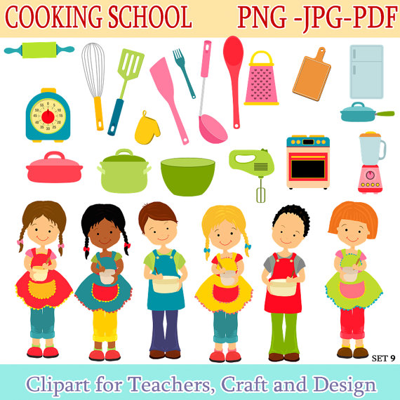 Cooking School Clip Art   Cooking Digital Clipart  Instant Download