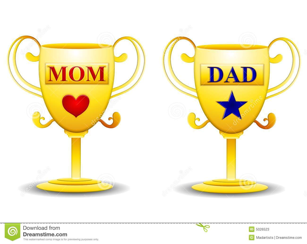 Mom And Dad Gold Trophies Stock Photos   Image  5026523