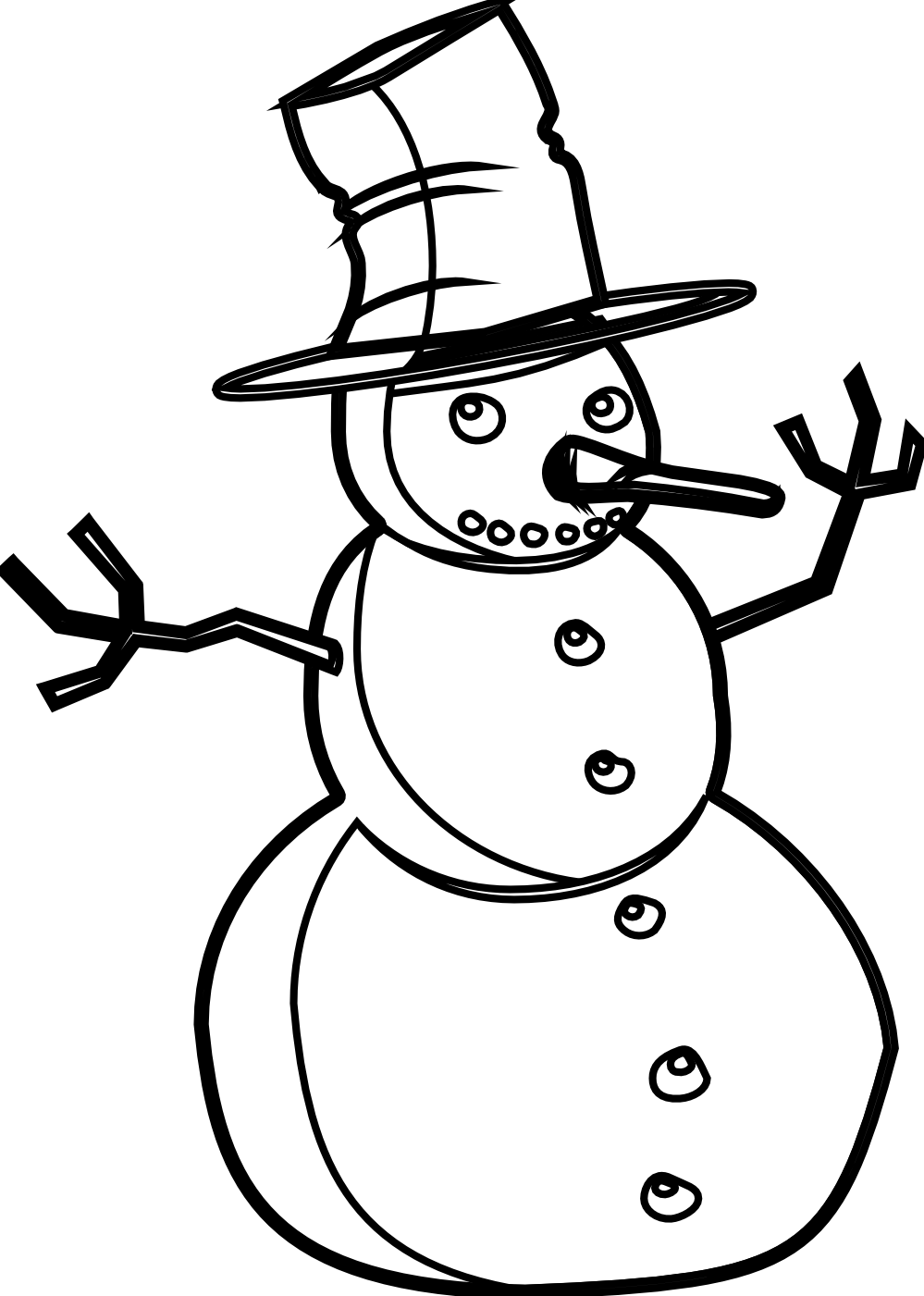 Related Pictures Illustration Black And White Snowman Clip Art