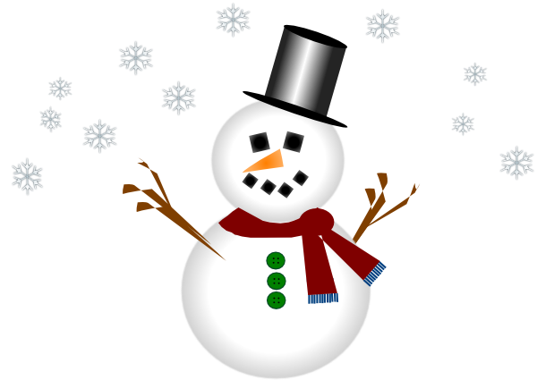 Snowman With Carrot Nose And Hat Clip Art At Clker Com   Vector Clip