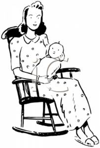Vintage Clipart Picture Of A Mother And Child In A Rocking Chair