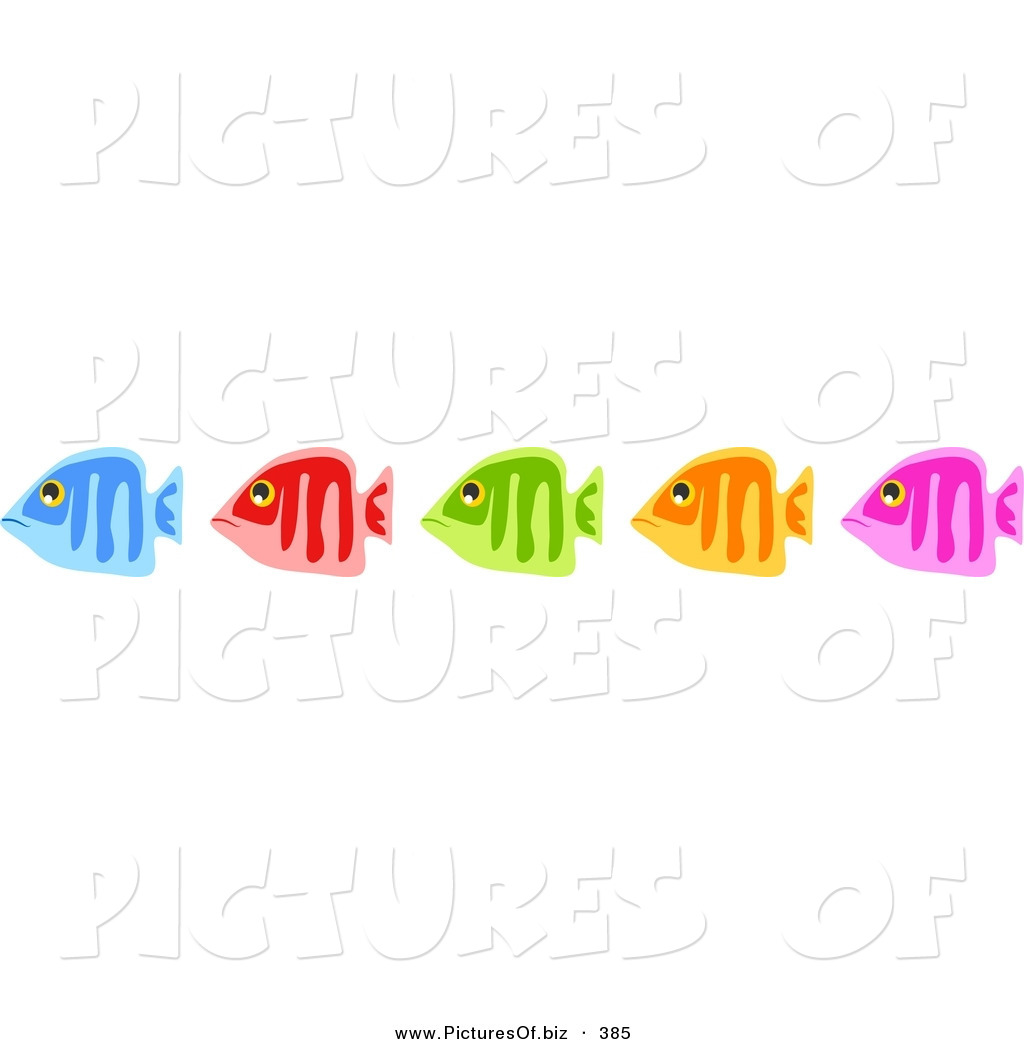 Blue Red Green Orange And Pink Fish Clip Art Prawny