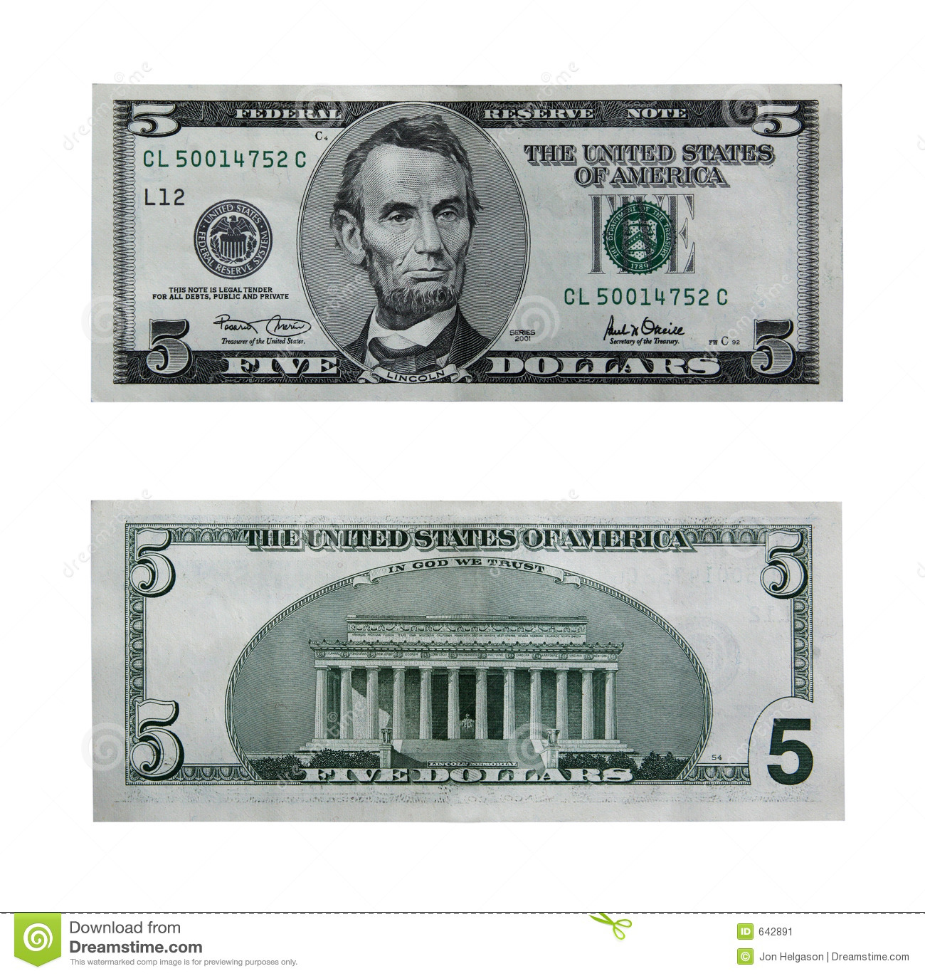 Both Sides Of The Five Dollar Bill Isolated On White With Clipping