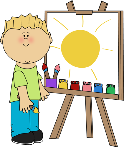 Boy Painting On An Easel Clip Art Image