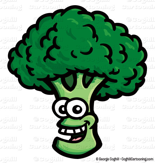 Cartoon Smiling Broccoli Vector Clipart Illustration
