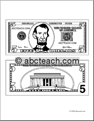 Clip Art  Five Dollar Bill Outline  Coloring Page    Preview 1