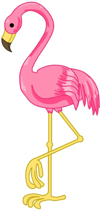 Clip Art Of A Pink Flamingo Standing On One Leg