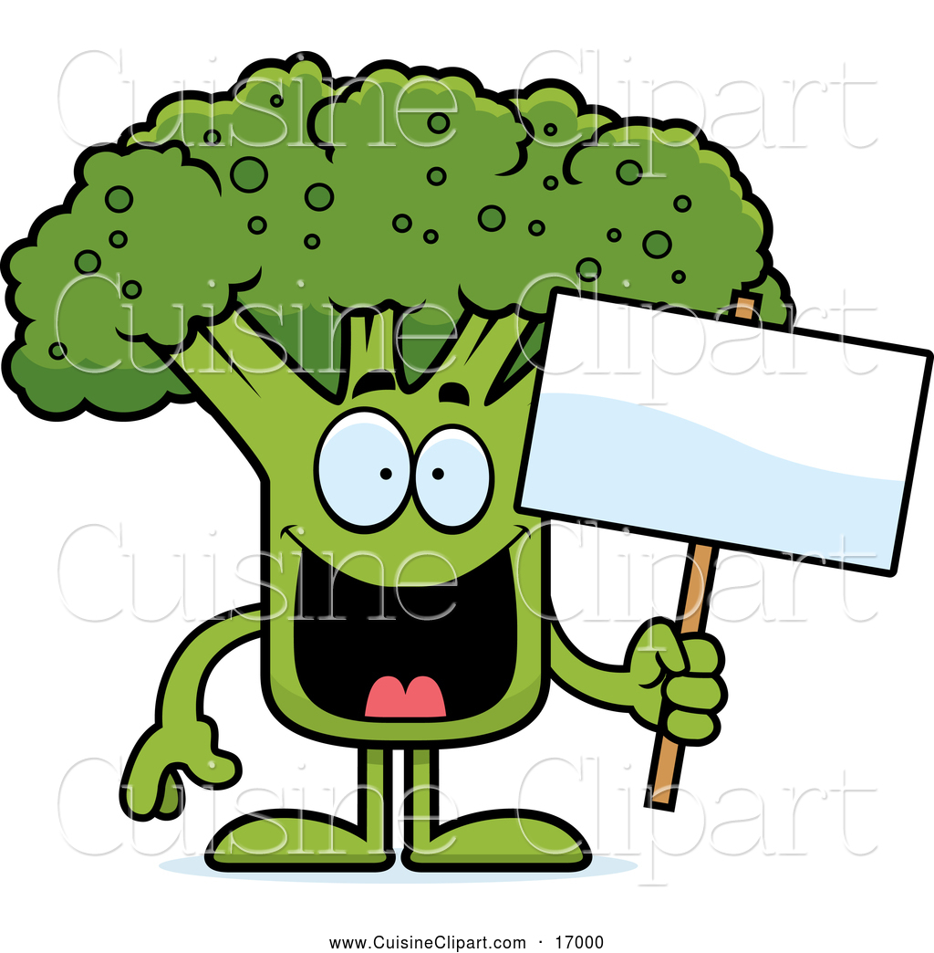 Cuisine Clipart Of A Happy Broccoli Mascot Holding A Sign