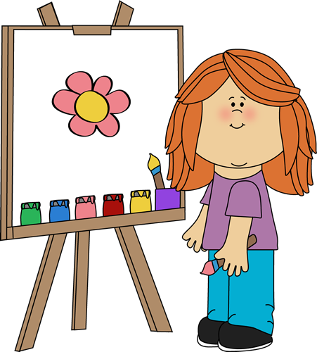 Girl Painting On Easel Clip Art   Girl Painting On Easel Image