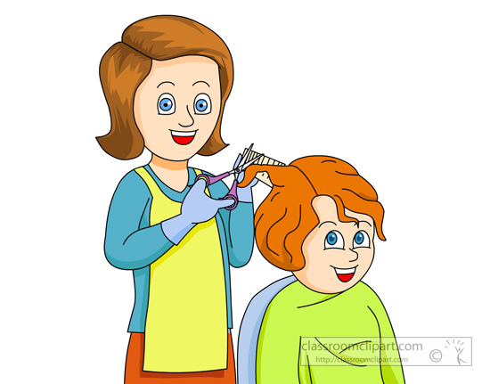 Hairdresser Getting Giving A Girl A Haircut   Classroom Clipart