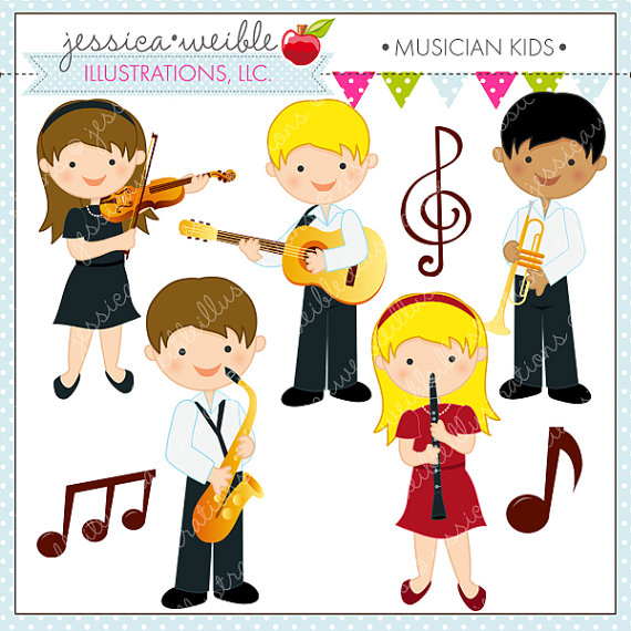 Musician Kids Cute Digital Clipart   Commercial Use Ok   Music Clipart