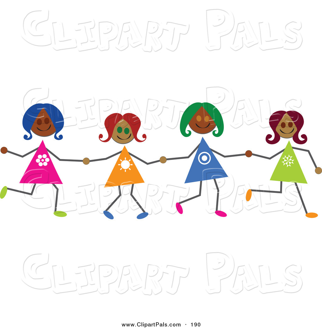 Pal Clipart Of Hispanic Stick Figure Girls Holding Hands By Prawny