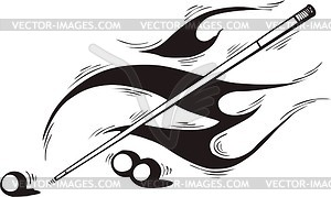 Pool Cue Flame   Vector Image