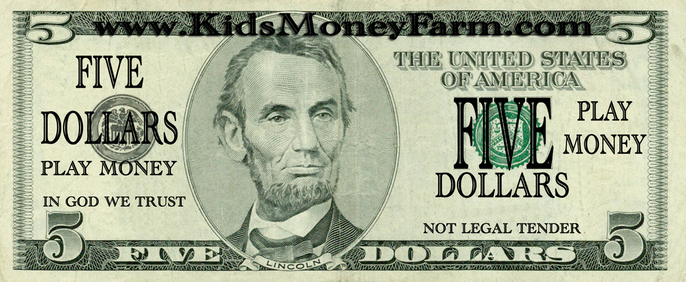 Printable Play Money  5    Coloring Kids