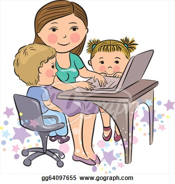 Vector Illustration   Busy Mother Works With Kids  Stock Clip Art