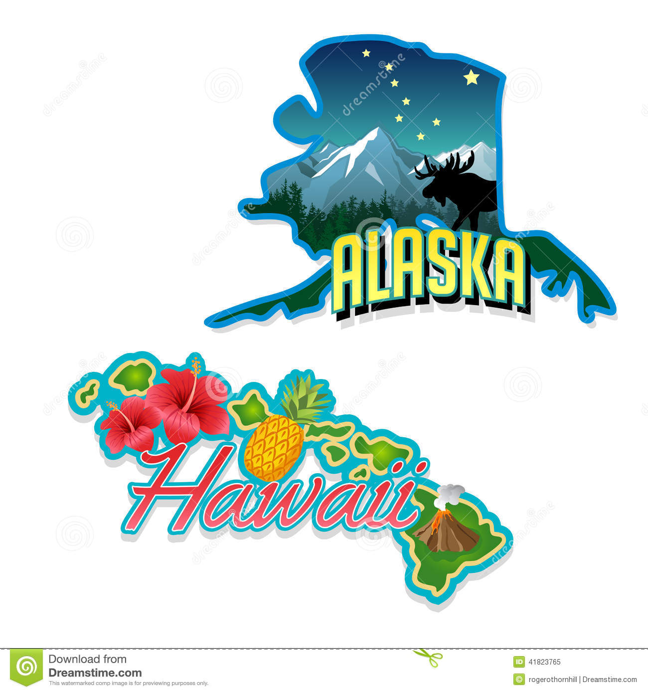 Alaska Hawaii Retro State Facts Illustrations Stock Vector   Image