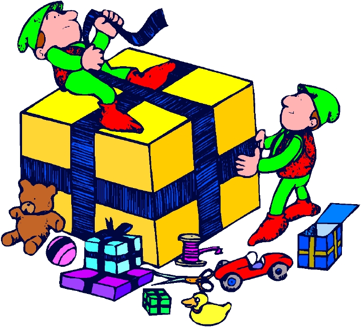Cartoon Of Elves Wrapping Packages