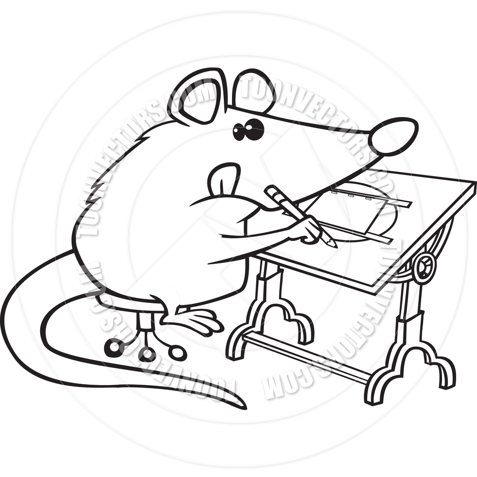 Cartoon Possum Illustrator  Black And White Line Art  By Ron Leishman