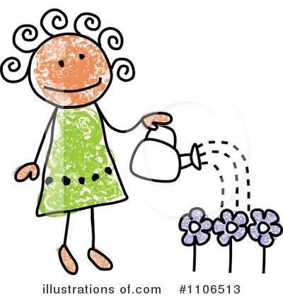 Children Garden Clipart  Rf  Gardening Clipart