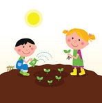 Children Planting Plants In Garden   Boy And Girl Planting