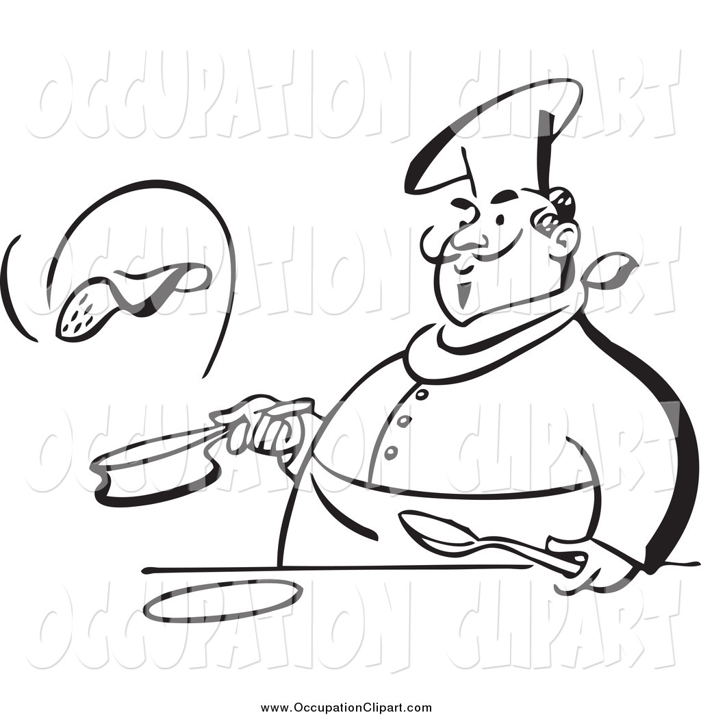 Clip Art Of A Black And White Chubby Male Chef Flipping A Pancake By