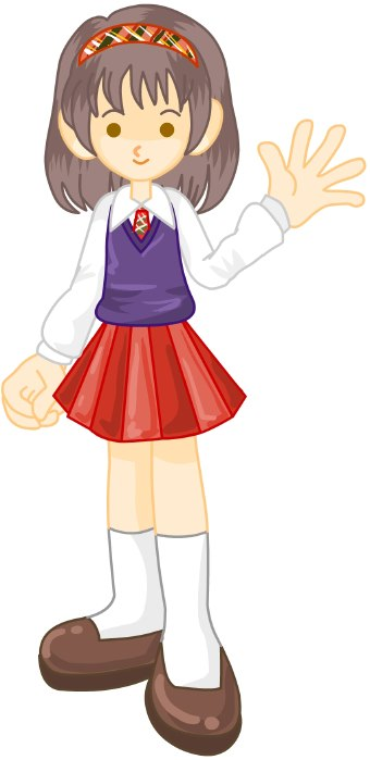 Clip Art Of A Girl Student In A White Blouse And Red Skirt Wearing A
