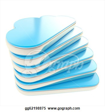 Clip Art   Stack Of Glossy Cloud Shaped Blue Plastic With Chrome