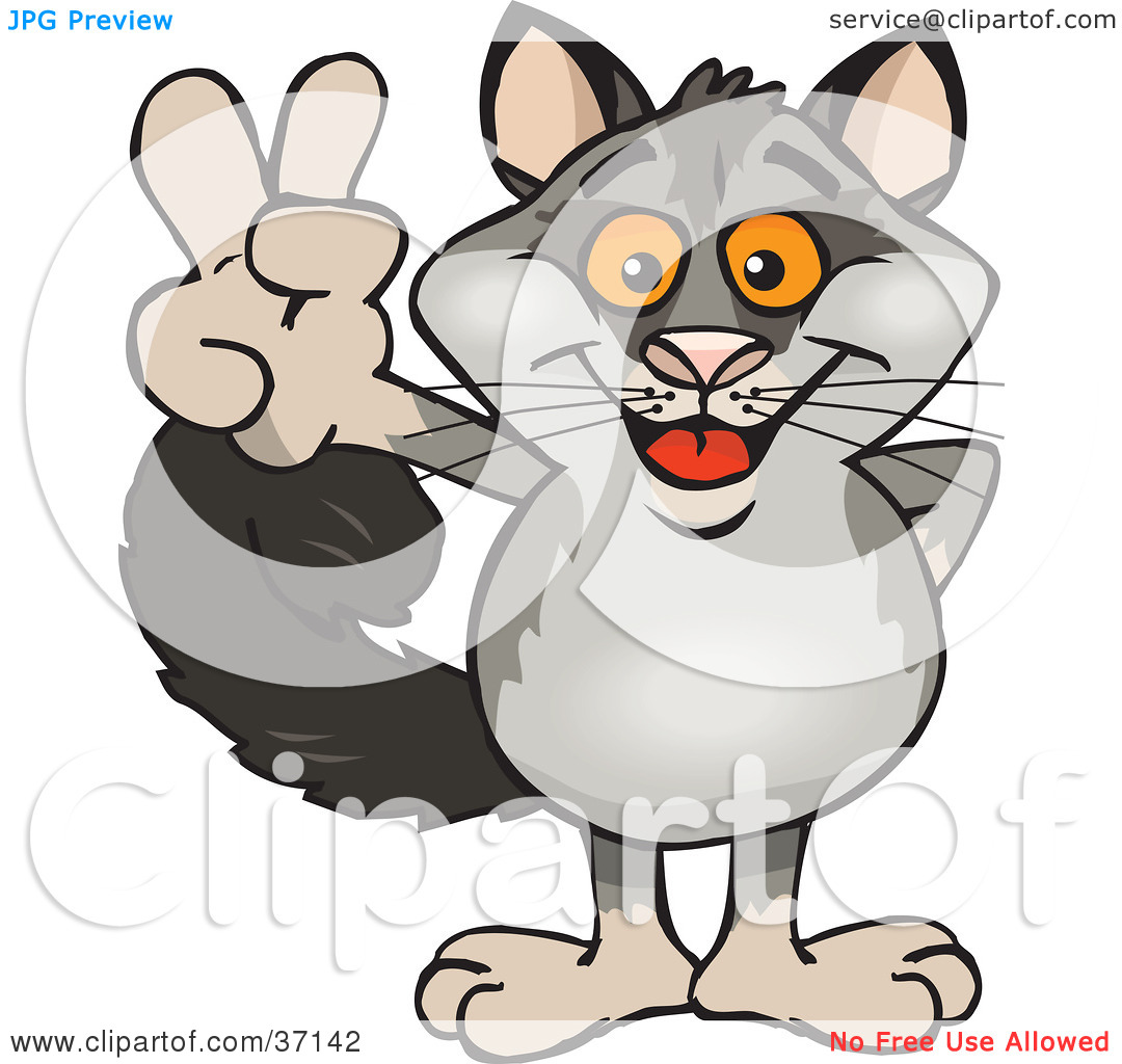 Clipart Illustration Of A Peaceful Possum Smiling And Gesturing The