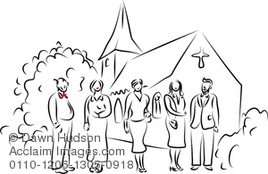 Clipart Image Of Simple Line Drawing Of A Group Of People Standing