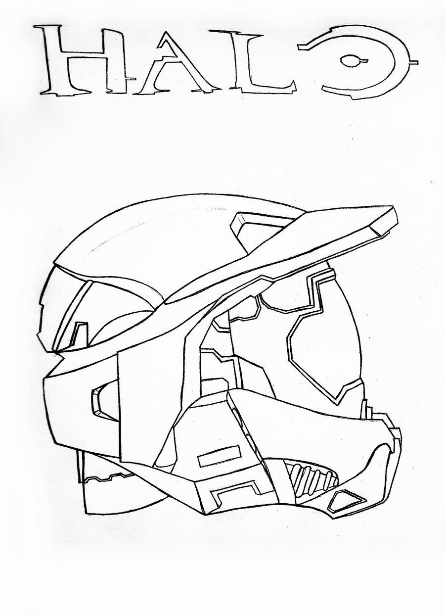 Master Chief Helmet Sketch Halo Coloring Page