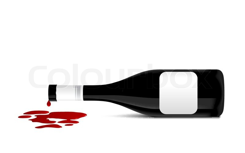 Illustration Of Wine Bottle That Spill Red Wine   Vector   Colourbox