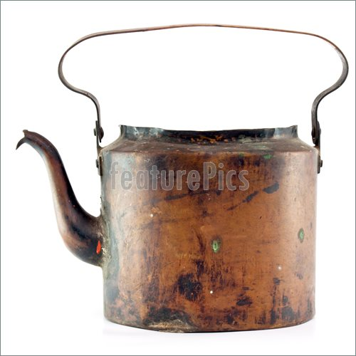 Picture Of Antigue Copper Tea Pot On White Background