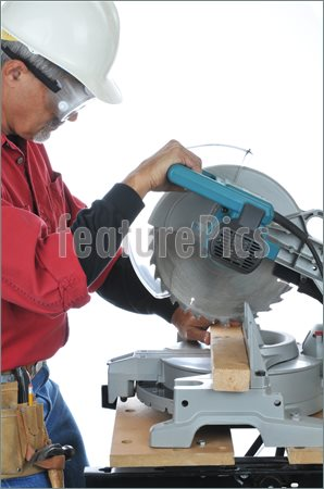 Picture Of Construction Worker Using Saw  Stock Image To Download At