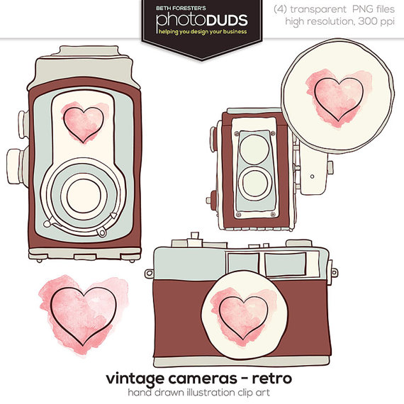 Pink Vintage Camera Clip Art Cameras Retro Digital Picture