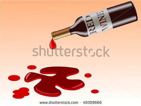 Vector Illustration Of Wine Bottle That Spill Red Wine And Now Is