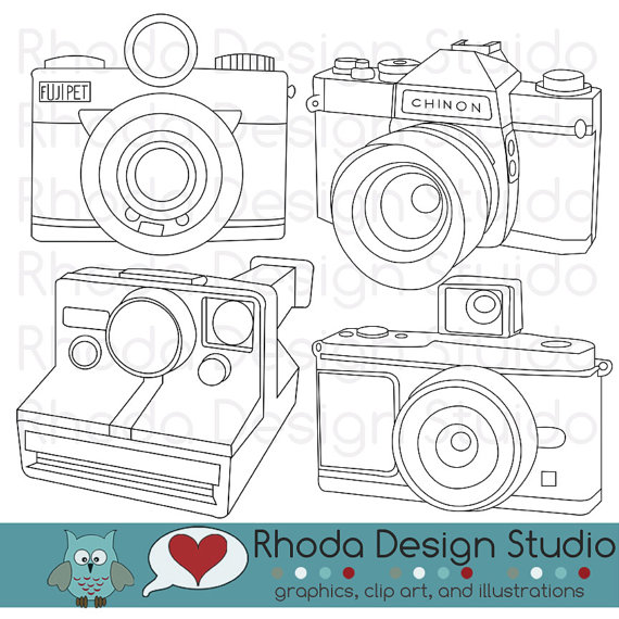 Vintage Cameras Digital Clip Art Retro Camera By Rhodadesignstudio