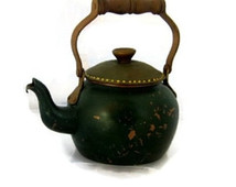 Vintage Rustic Green Copper Tea Ket Tle With Brown Wood Handle Copper