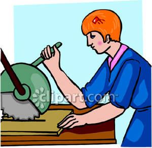 Woman Using A Chop Saw Or Miter Saw Royalty Free Clipart Picture
