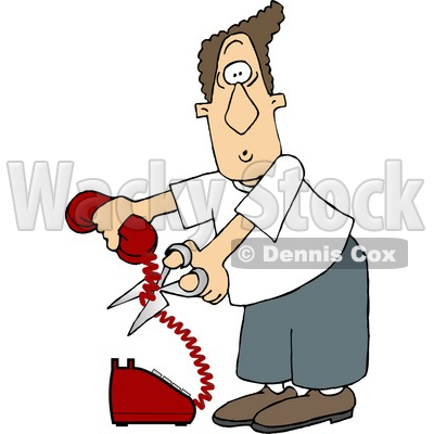 Angry Man Cutting The Phone Cord Clipart Picture   Djart  5905