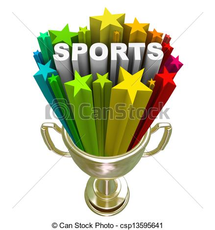 Athletic Word Clipart Sports Word Gold Trophy Winner