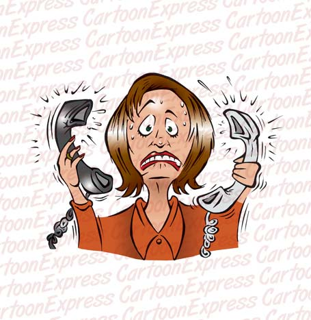 Cartoon Vector Illustration Of An Office Secretary Stressed