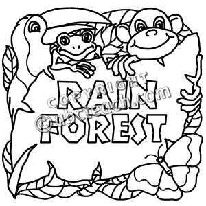 Clip Art  Biome Icons  Rain Forest B W   Abcteach