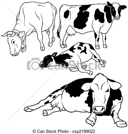 Cow Set 01   Black Hand Drawn Illustration Csp2199022   Search Clipart