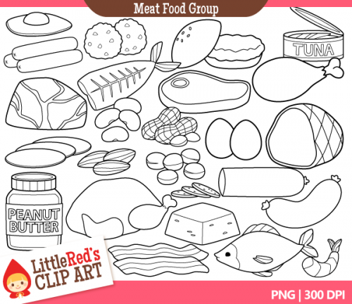 Food Group Clip Art   4 75 24 Designs In Color 24 In Black And White A