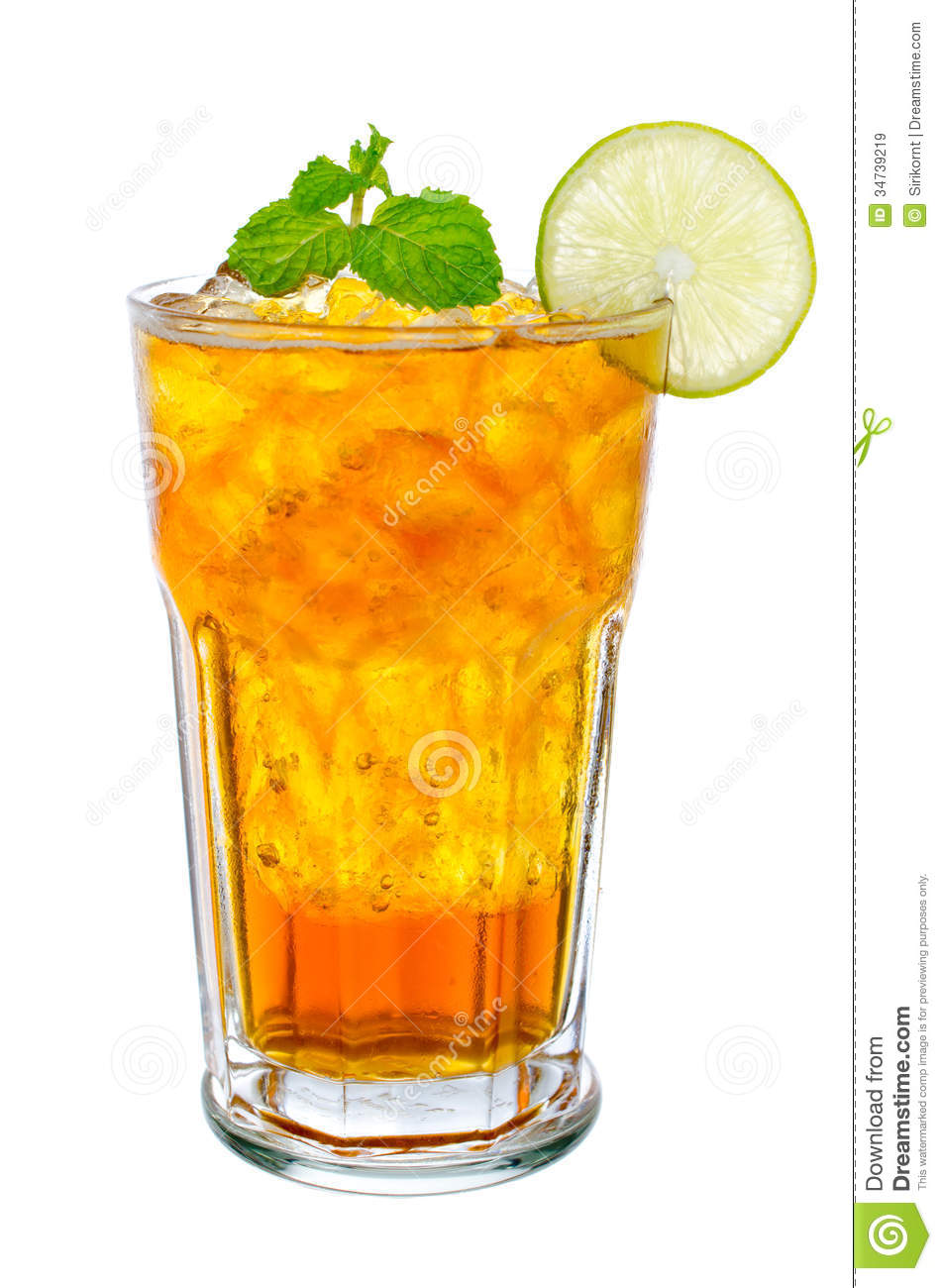 Iced Tea Clipart Glass Of Ice Tea With Lemon On