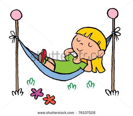 Little Girl Relaxing In A Hammock Stock Vector 76107028   Shutterstock